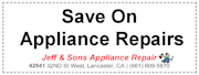 coupon for appliance repairs